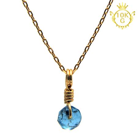【宝石質アクアマリン】ボタン型・10金ゴールドネックレス