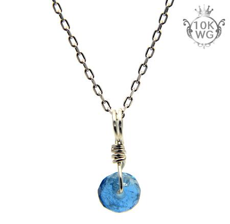 【宝石質アクアマリン】ボタン型・10金ホワイトゴールドネックレス