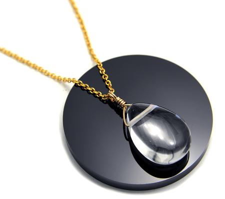 【高品質・水晶】雫型・14金GFネックレス