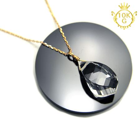 【最高品質・水晶(ツイストカット)】10金ゴールドネックレス