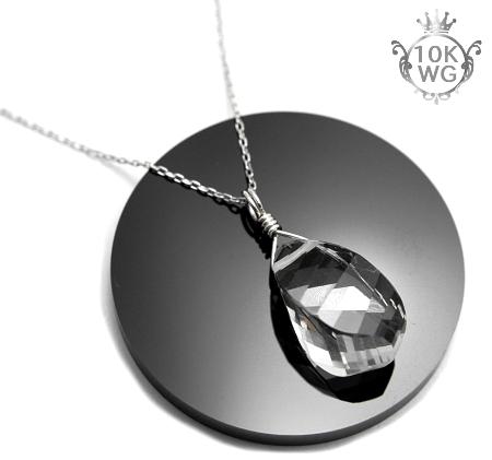 【最高品質・水晶(ツイストカット)】10金ホワイトゴールドネックレス