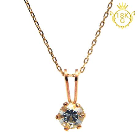 【最高品質・水晶(GF枠留め)】18金ゴールドネックレス