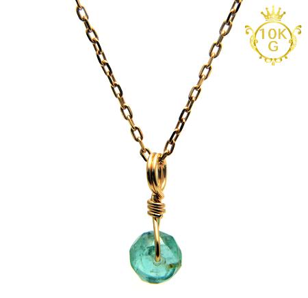 【宝石質エメラルド】ボタン型・10金ゴールドネックレス