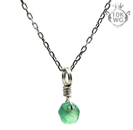 【宝石質エメラルド】ボタン型・10金ホワイトゴールドネックレス