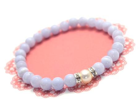 【パール(淡水真珠)×ブルーレースアゲート】丸玉・シンプル型ブレスレット