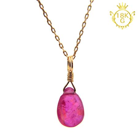 【宝石質ルビー】雫型・18金ゴールドネックレス
