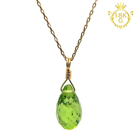 【宝石質ペリドット】雫型・18金ゴールドネックレス