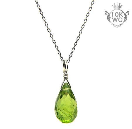 【宝石質ペリドット】雫型・10金ホワイトゴールドネックレス