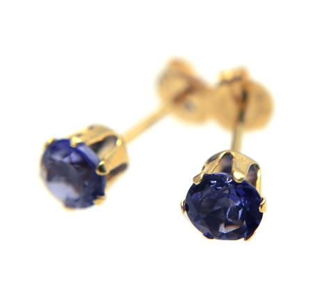 【宝石質アイオライト】枠留め・18金スタッド型ピアス