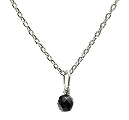 【ブラックトルマリン】ミラーボール型・合金ネックレス