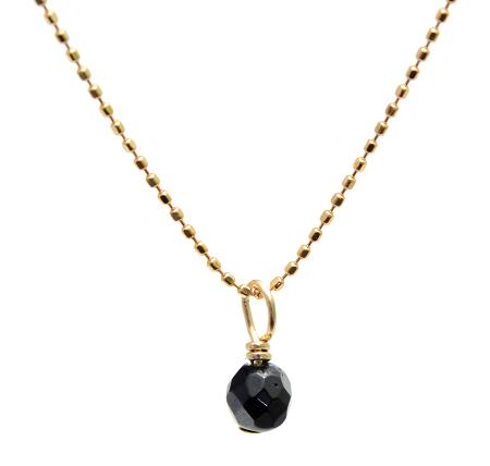 【ブラックトルマリン】ミラーボール型・18金ゴールドネックレス