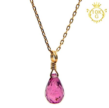 【最高品質ピンクトルマリン】雫型・10金ゴールドネックレス