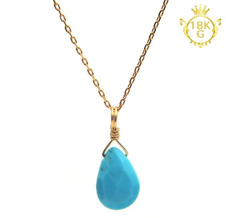 【宝石質ターコイズ】雫型・18金ゴールドネックレス