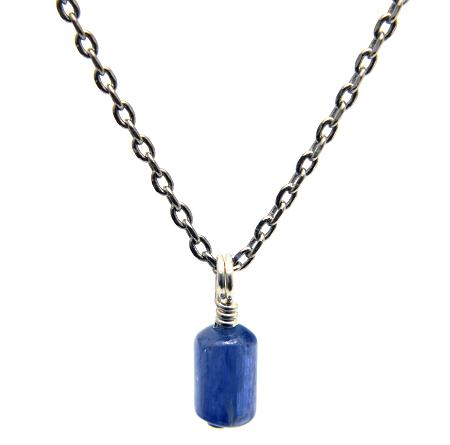 【カイヤナイト】チューブ型・合金ネックレス