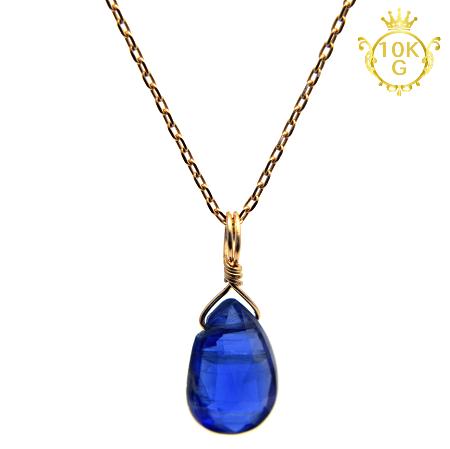 【最高品質カイヤナイト】雫型・10金ゴールドネックレス