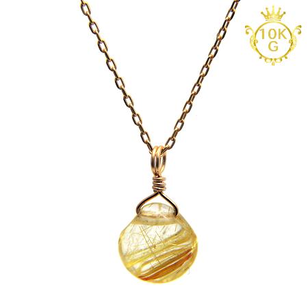 【高品質ルチルクォーツ(金針多め)】マロン型・10金ゴールドネックレス