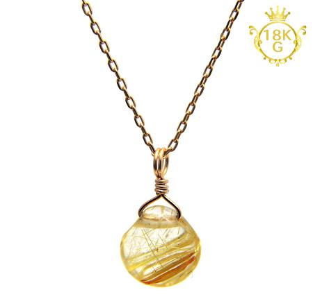 【高品質ルチルクォーツ(金針多め)】マロン型・18金ゴールドネックレス