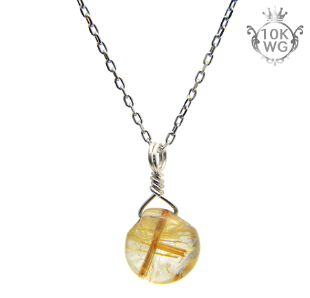 【高品質ルチルクォーツ(金針多め)】マロン型・10金ホワイトゴールドネックレス