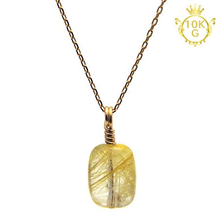 【宝石質ルチルクォーツ(レクタングル型)】10金ゴールドネックレス