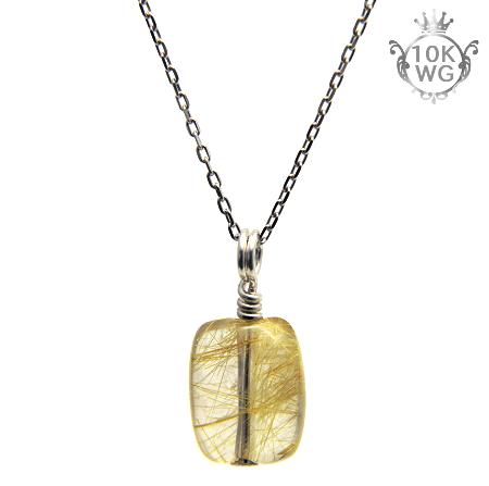 【宝石質ルチルクォーツ(レクタングル型)】10金ホワイトゴールドネックレス