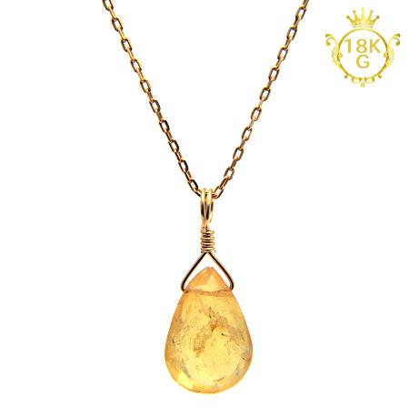 【インペリアルトパーズ】雫型・18金ゴールドネックレス