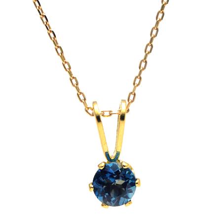 【宝石質ロンドンブルートパーズ】枠留め・18金ゴールドネックレス